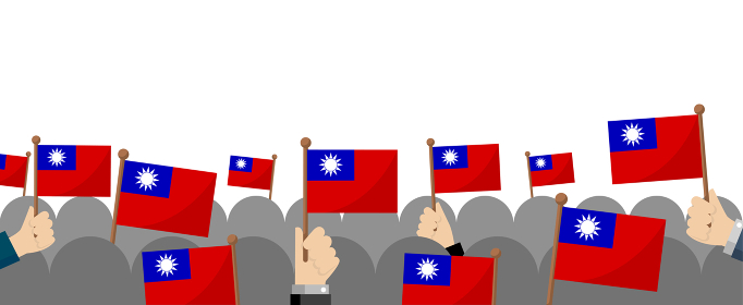 手持ち国旗 集団・群衆イラスト ( 愛国心・イベント・お祝い ・デモ) / 台湾