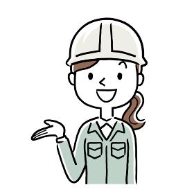 イラスト素材:作業服を着た若い女性、紹介、案内