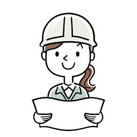 イラスト素材:作業服を着た若い女性、設計図