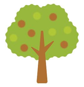 秋に実をつけた栗の木のアイコン