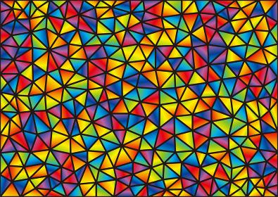 ステンドグラス風のカラフルな三角形のモザイク模様
