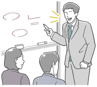 会議室のホワイトボードの前で説明する、若い男性