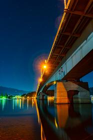 山梨県富士河口湖町にある河口湖大橋と富士山