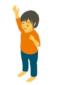 アイソメトリック 手をあげて指差ししているかわいい幼児のベクターイラスト