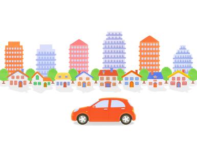 赤い車と街並み