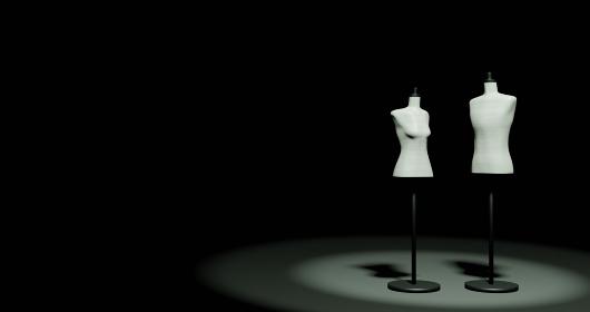 暗い部屋に立つ男女2体のトルソーマネキン・3DCG・ポスター・コピースペース・ファッション