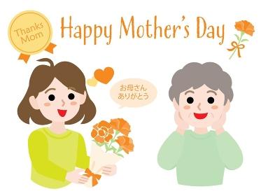 母の日のお母さんと娘とHappy Mother's Day のタイトル