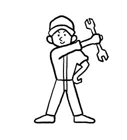 自動車整備士の線画イラスト