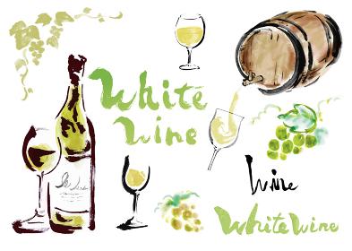 白ワイン関連のワインボトルやグラスワインやぶどうや文字などのセット