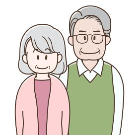 並んで立つ老夫婦のイラスト
