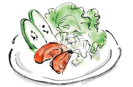 手描きイラスト素材 洋食 野菜サラダ, 食べ物, 野菜, サラダ