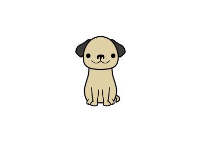 正面を向いて座る垂れ耳犬のイラスト(カラー2)