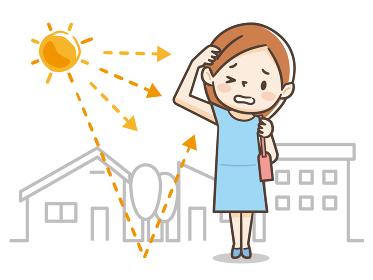 紫外線を気にする若い女性のイラストレーション