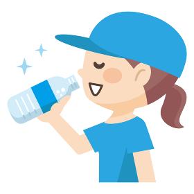 水分補給をする若い女性