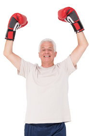 Senior man in boxing gloves