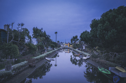 Venice canals at night in Los Angeles
