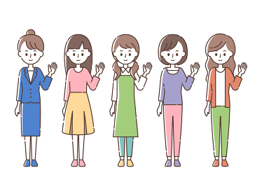 案内する5人の女性