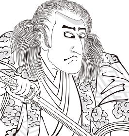 浮世絵 歌舞伎役者 その14 白黒