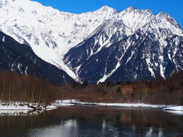 大正池と冬の穂高岳