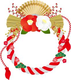 しめ飾り:しめ縄 お正月 新年 ベクター 挿絵 紐 紅白 椿 扇子 松 稲 葉 植