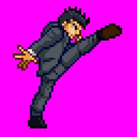 ビジネスマン格闘家01キック
