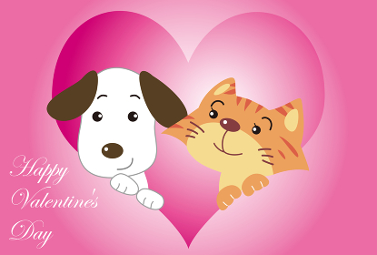 犬と猫のバレンタインカード