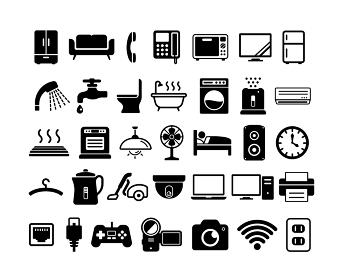 家具・家電・電化製品 ベクターアイコンセット