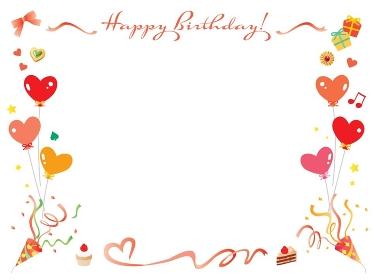 リボンやクラッカーやケーキの赤いお誕生日のフレーム