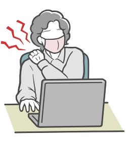 パソコン作業で肩が凝った、マスクをした中年女性