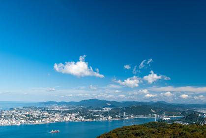 風師山展望台からの眺める関門海峡と下関市街