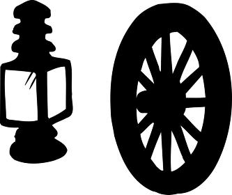 クラシックカーのランプと車輪のシルエット