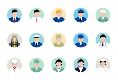 シルエット人物 円形アバターイラスト・ビジネスコスチューム セット (アジア人・日本人・白人)