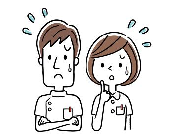 ベクターイラスト素材:困った表情の若い看護師、男女