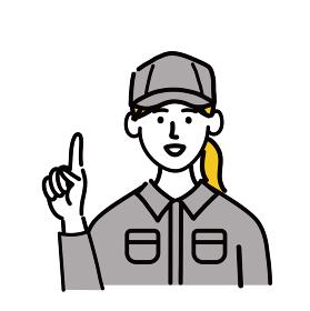 作業服 女性 若い 提案 人差し指 ポップ 手描き