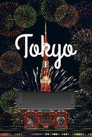 東京タワーと雷門と花火 イラスト