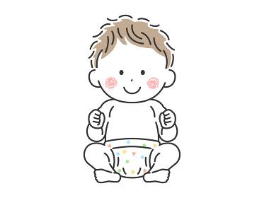 お座りをしているご機嫌な赤ちゃんのイラスト