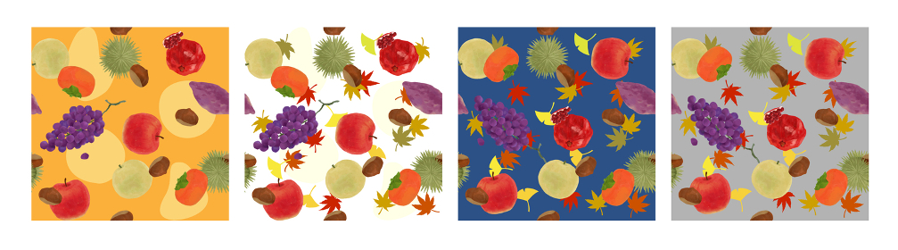 食欲の秋にぴったりの秋の果物テキスタイルパターンセット