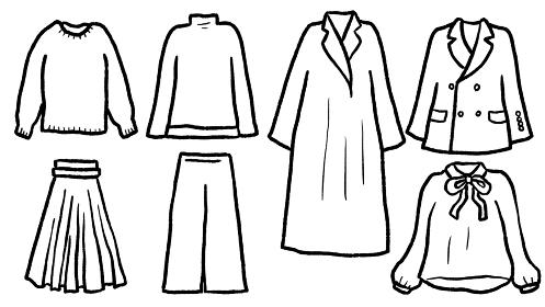 カジュアルウェアの線画イラスト素材セット