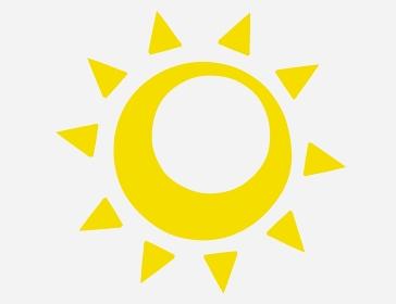 穴が開いているシンプルな黄色の太陽