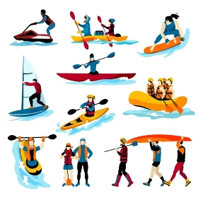 People In Extreme Water Sports Color Icons . Extreme water sports flat color icons set with people in rafting surfing canoeing kayaking windsurfing isolated vector illustration