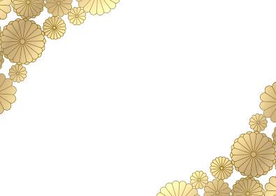 金色の菊のフレームイラスト 3