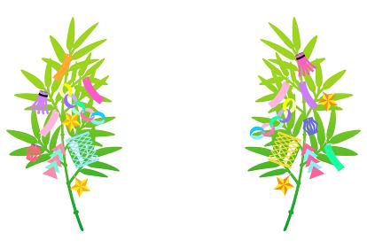 七夕の笹飾り【左右対称のデザイン】