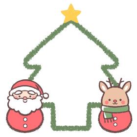 サンタクロースダルマとトナカイダルマのクリスマスツリーの線画フレーム