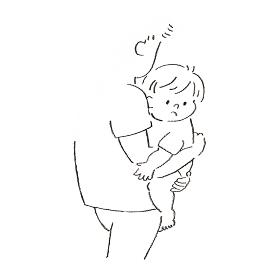 パパに抱っこされている子供の挿絵イラスト
