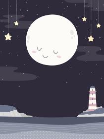 かわいい満月と灯台、夜の海の風景、背景素材