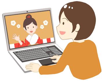 オンライン成人式を見る 振袖 女性(線無し)