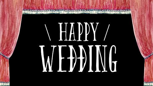 結婚式のオープニング タイトル 幕 文字 水彩 イラスト 横長