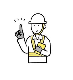 笑顔で指示を出す作業員の男性のイラスト