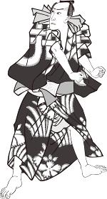 浮世絵 歌舞伎役者 その47 白黒