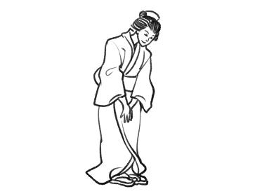 日本画タッチのお辞儀をする女性人物イラスト